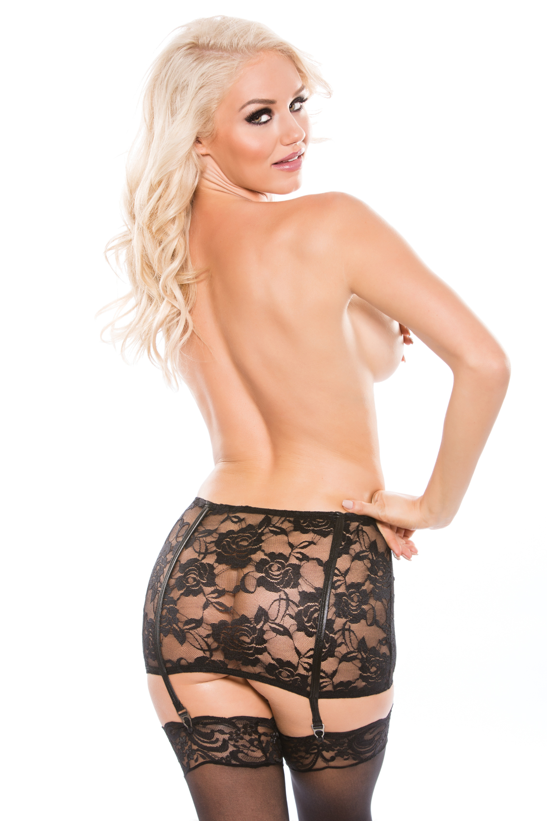 KITTEN LACE & WET LOOK GARTER SKIRT O/S