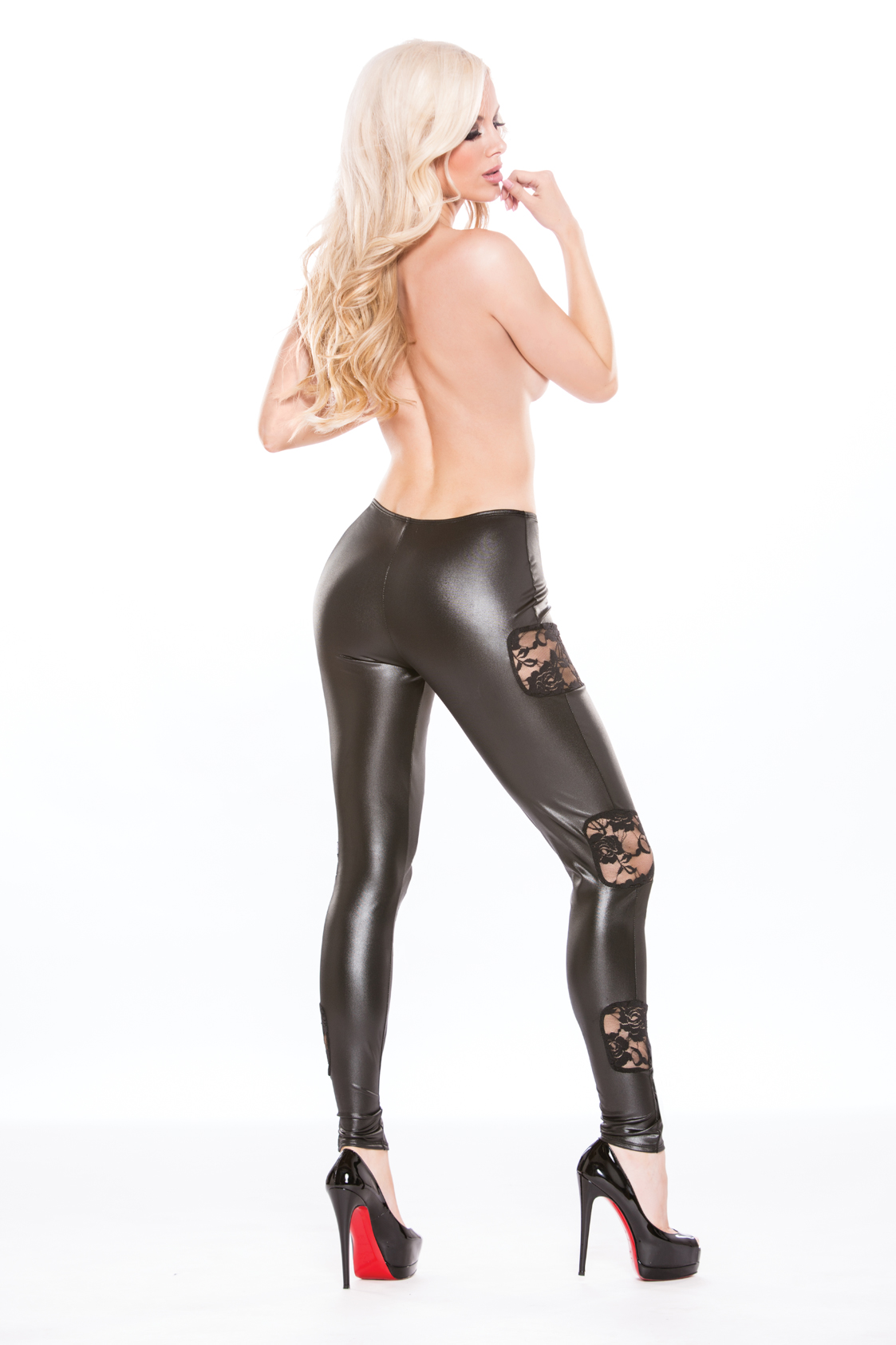 KITTEN LACE & WET LOOK LEGGINGS O/S