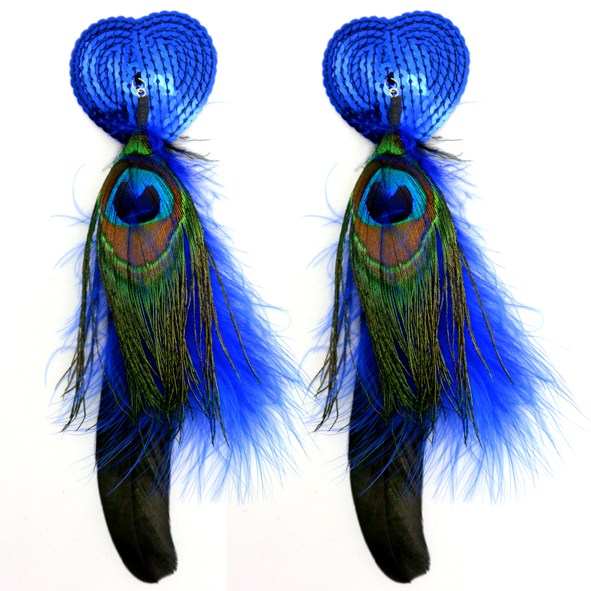 BIJOUX NIPPLE COVERS SEQUIN HE HEART W/FEATHERS BLUE