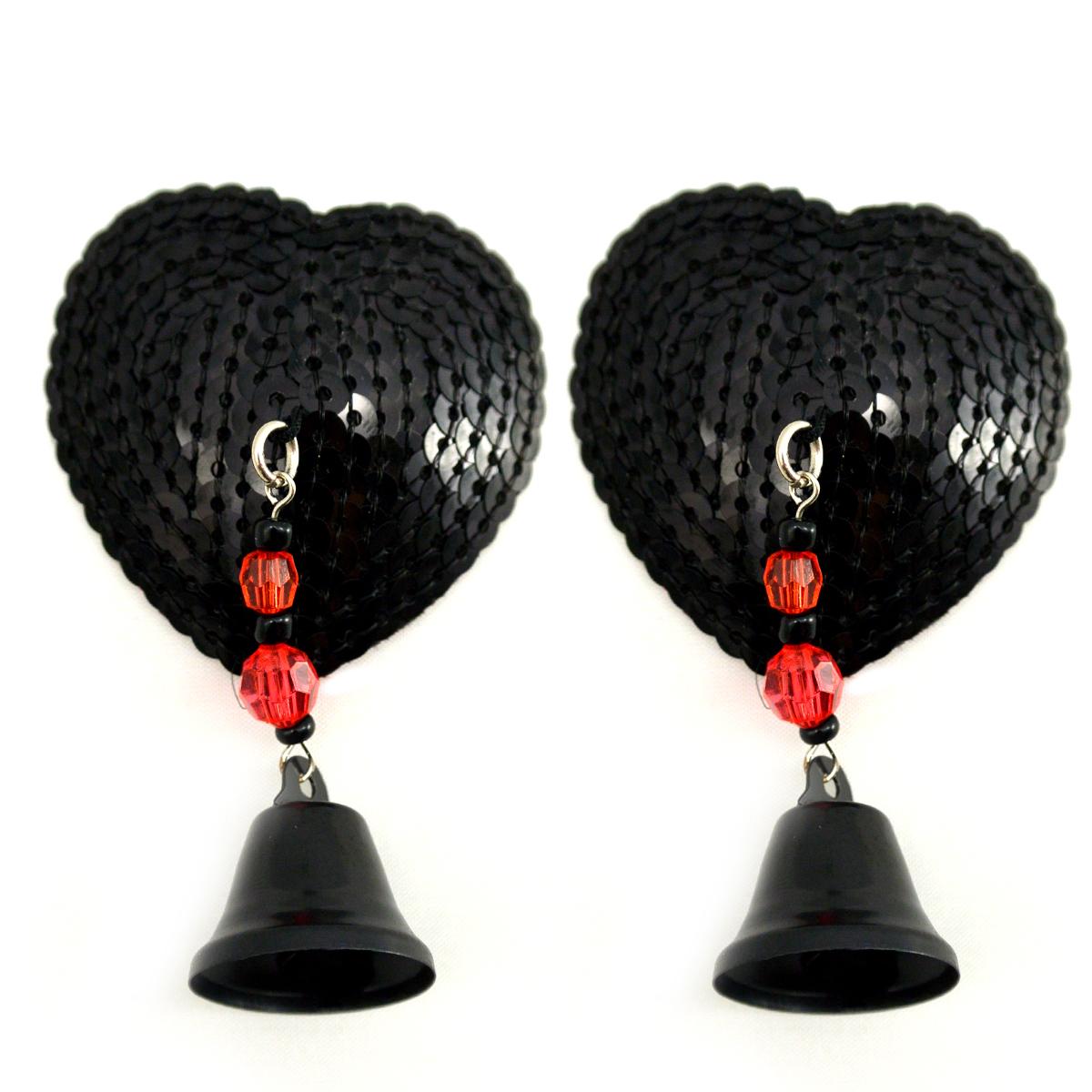 BIJOUX NIPPLE COVERS SEQUIN HEART W/BELLS BLACK