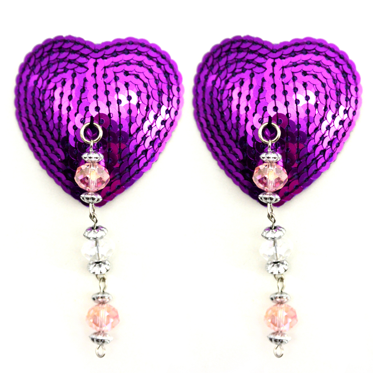 BIJOUX NIPPLE COVERS SEQUIN HEART W/FACETED BEADS & FLOWER CHARM