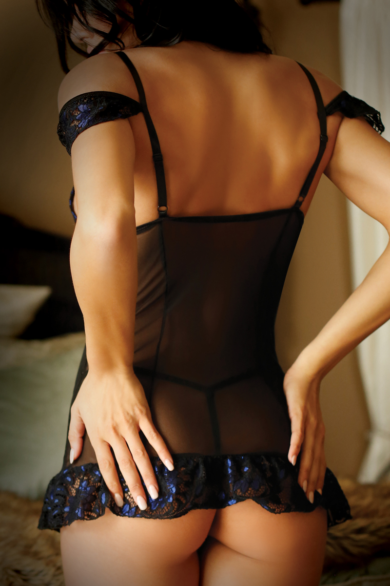 BEWITCHING CHEMISE & G STRING BLACK/BLUE OS