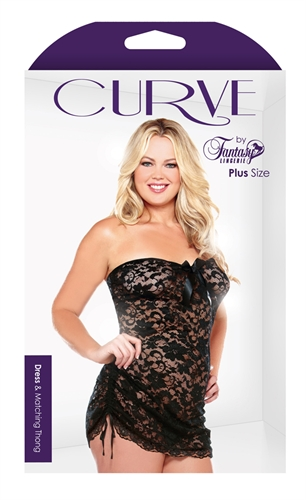 Fantasy Lingerie CURVE STRAPLESS DRESS & THONG 1X/2X BLACK at Sears.com