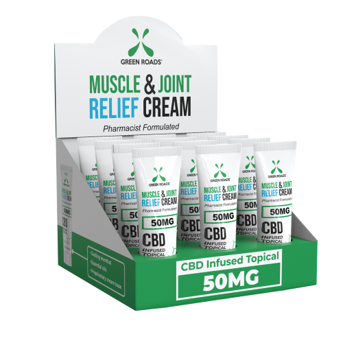 CBD MUSCLE & JOINT RELIEF CREAM ON THE GO 50MG 12 PC DISPLAY (NET)