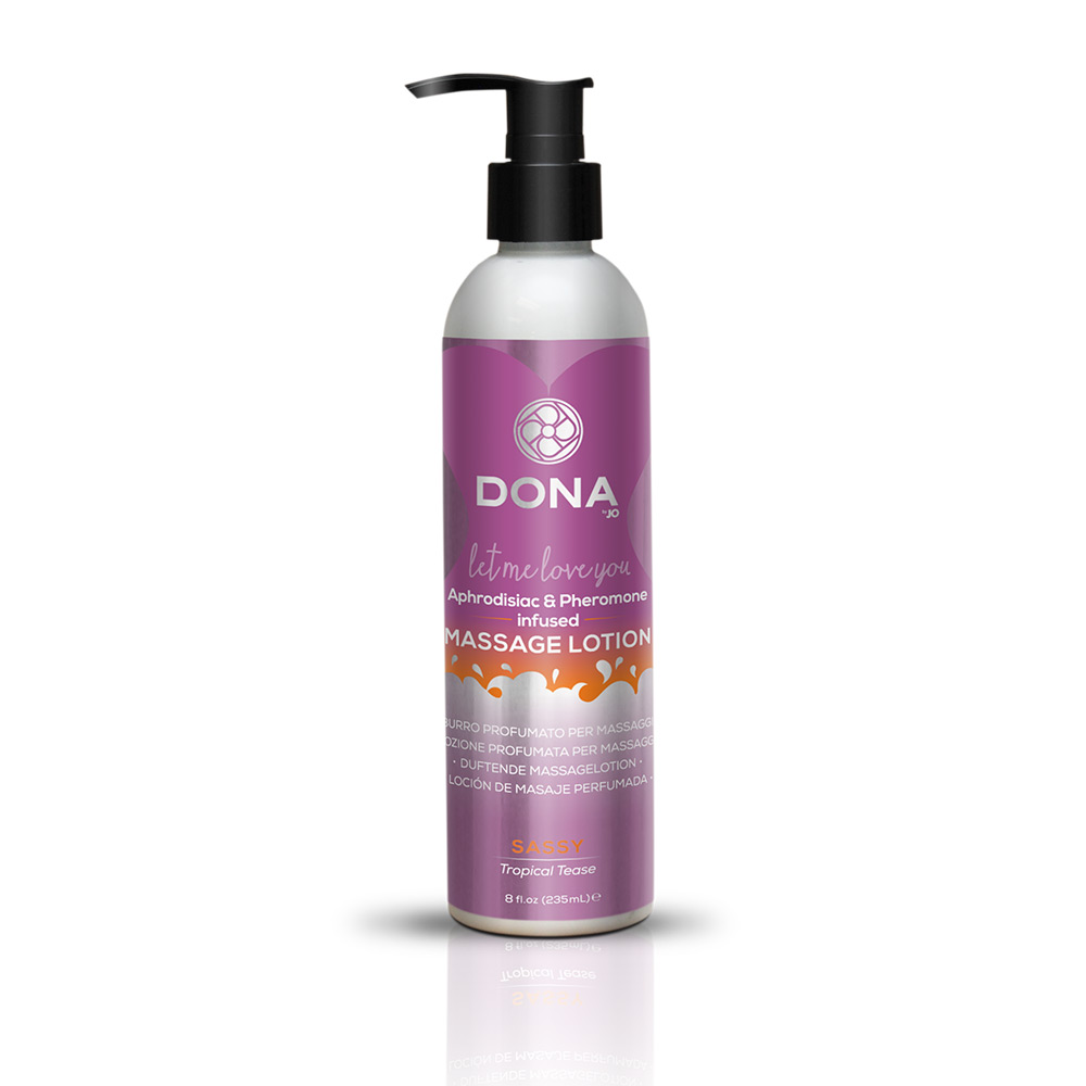 DONA MASSAGE LOTION SASSY TROPICAL TEASE 8 OZ