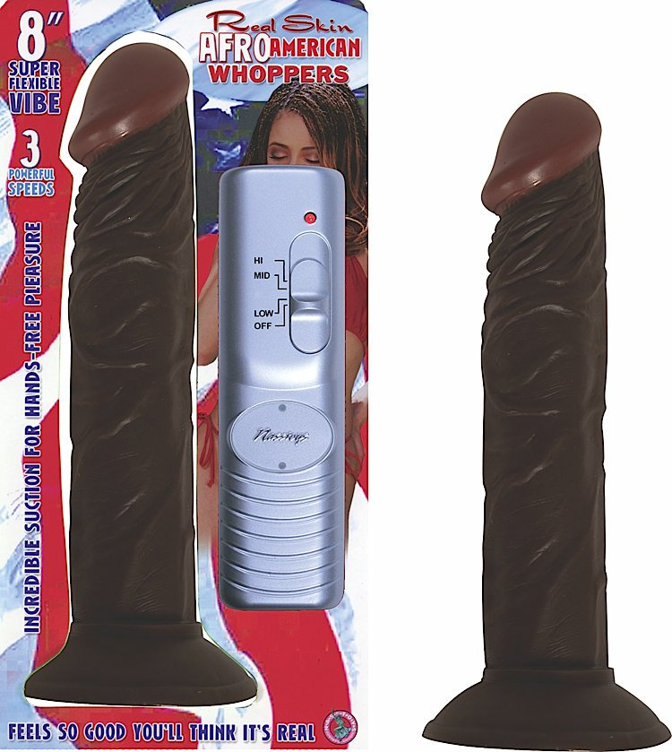 AFRO AMERICAN WHOPPER VIBRATING 8IN BROWN