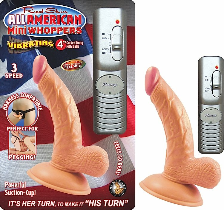 "All American 4"" Curved Dong W/Balls Flesh Vib"