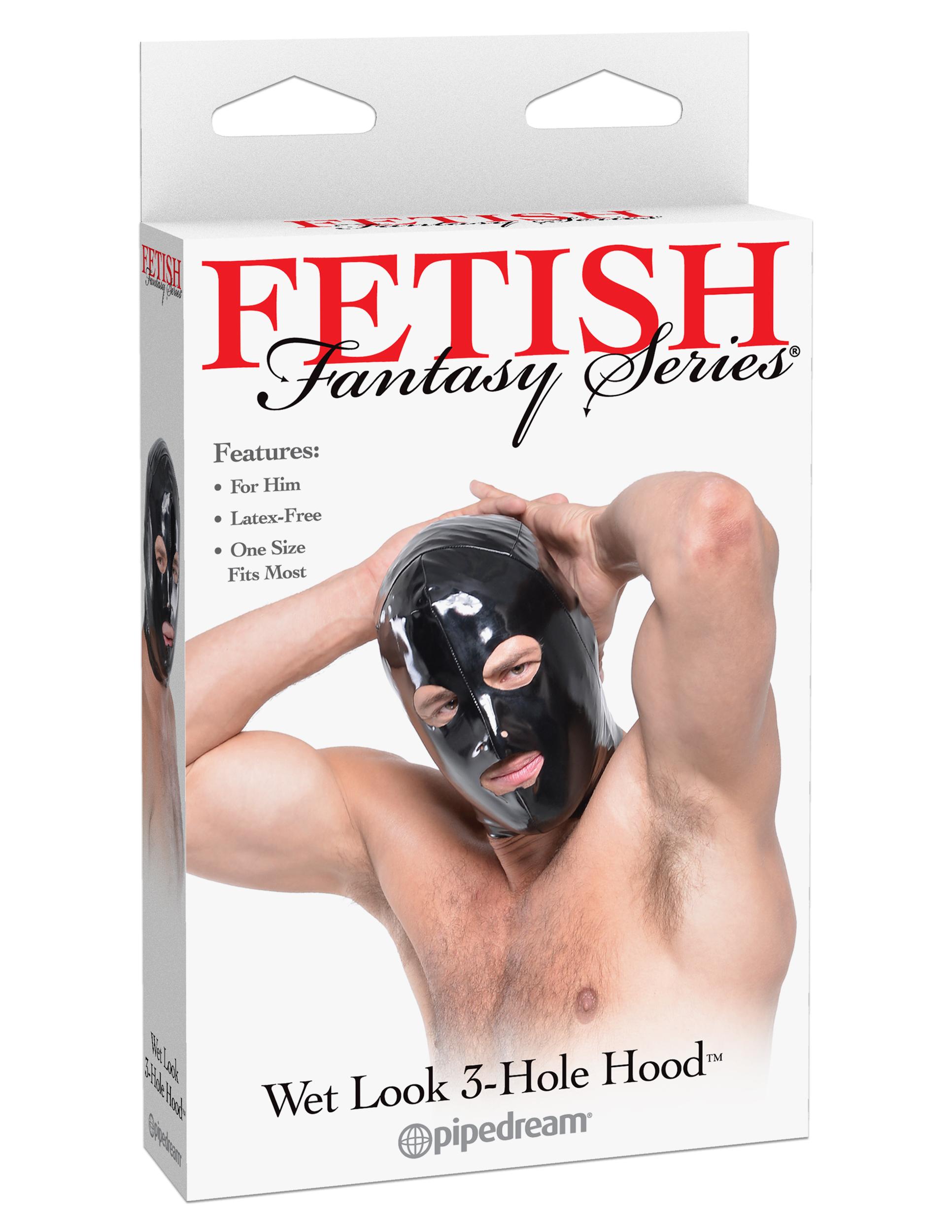 FETISH FANTASY WET LOOK 3 HOLE HOOD FOR HIM