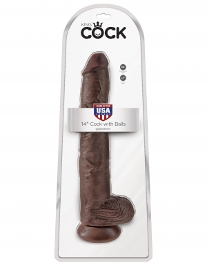 KING COCK 14 COCK W/BALLS BROWN