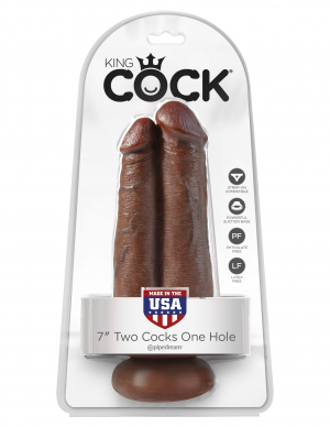 """KING COCK 7 TWO COCKS ONE HOLE BROWN """""""