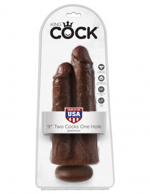 """KING COCK 9 TWO COCKS ONE HOLE BROWN """""""