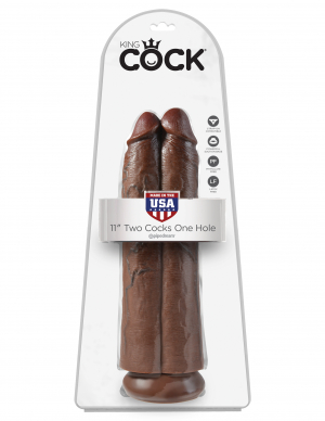"""KING COCK 11 TWO COCKS ONE HOLE BROWN """""""