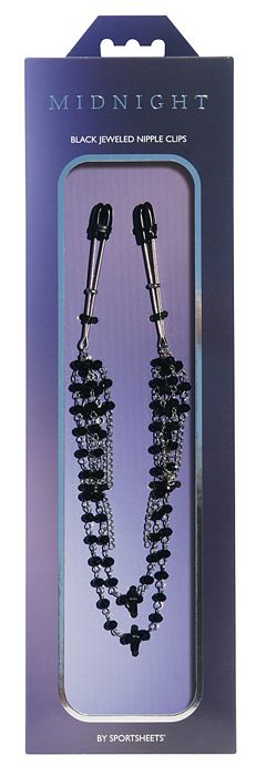 MIDNIGHT BLACK JEWELED NIPPLE CLIPS