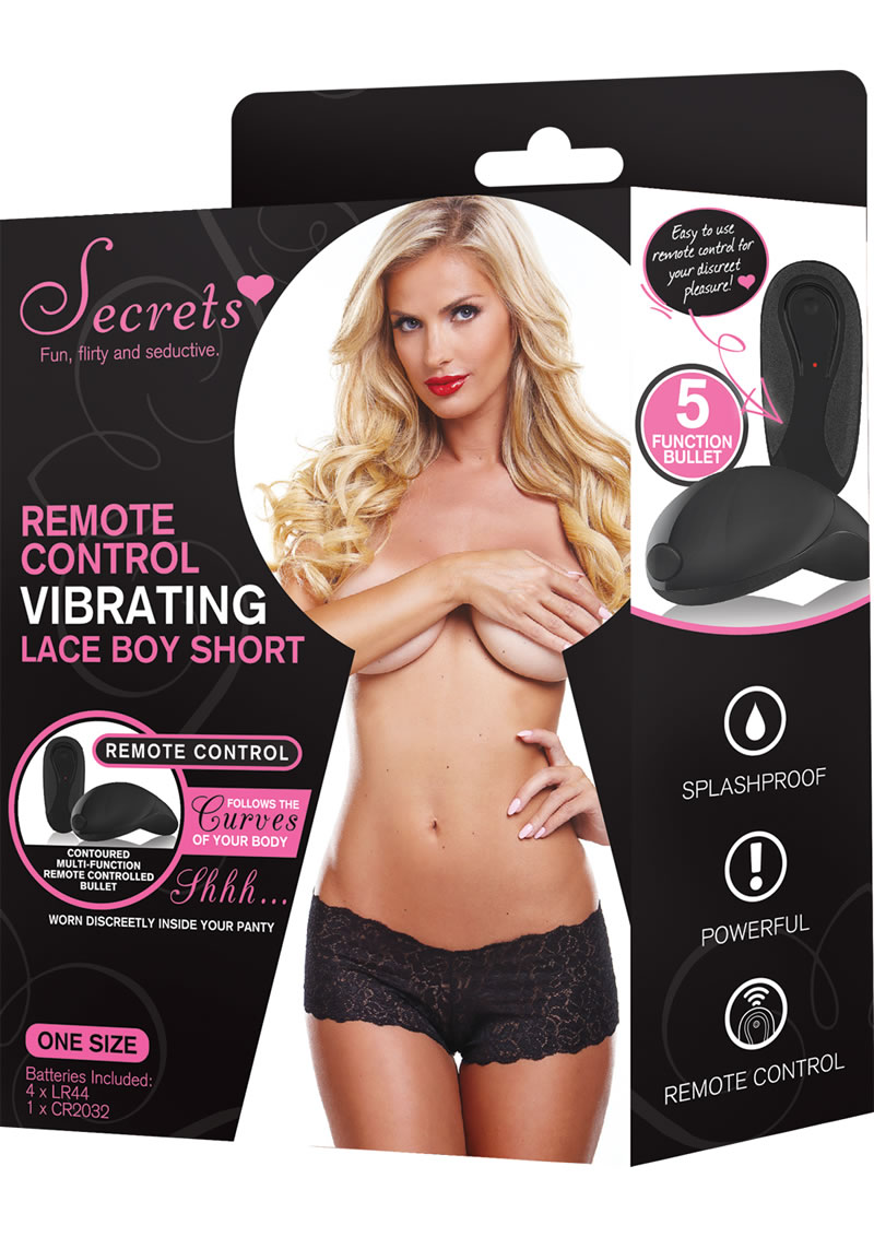 Boyshorts Vibrating W/Remote Black O/S