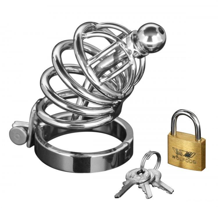 Masters Chastity Cage W/Urethal Plug Sm/Md