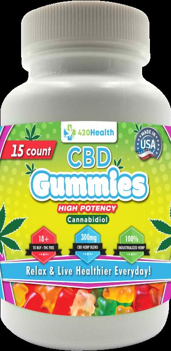420 HEALTH CBD GUMMIES 15CT BOTTLE 300MG
