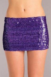 (Wd) Purple Sequin Skirt Mediu