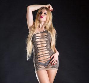 Naughty Girl Leopard Dress One Shoulder (Net)