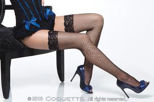Fishnet Thigh High W/ Lace Top Black Os/Xl