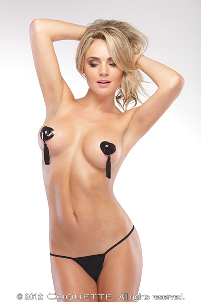 Heart Shaped W/ Tassels Pasties Black Os