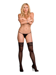 Thigh High Sheer Lace Black Os Queen Ambrose