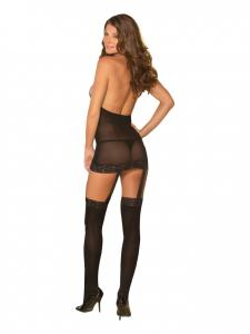 Sheer Garter Dress Black O/S