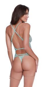 Stretch Mesh & Lace Bustier & G-String Vibrant Aqua O/S