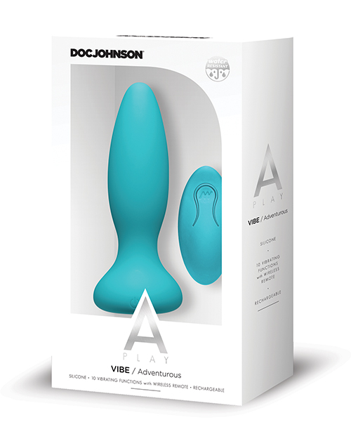 A-PLAY VIBE ADVENTUROUS ANAL PLUG RECHARGEABLE W/ REMOTE TEAL