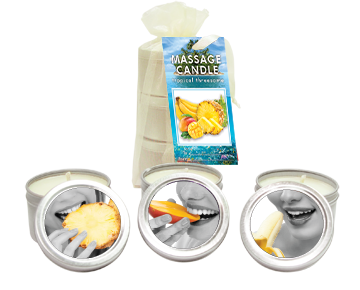 BAG CANDLE TROPICAL TRIO MANGO MARGARITA/ BANANA DAIQUIRI/ PINEAPPLE BREEZE 2 OZ