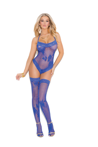 Lace Teddy & Stockings Blue O/S