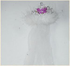 Bride 2b Tiara Flashing White Fur Veil