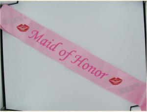 (Wd) Maid Of Honor Sash W/Ston Pink