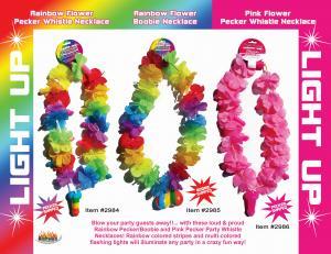 Rainbow Light Up Flower Pecker Necklace