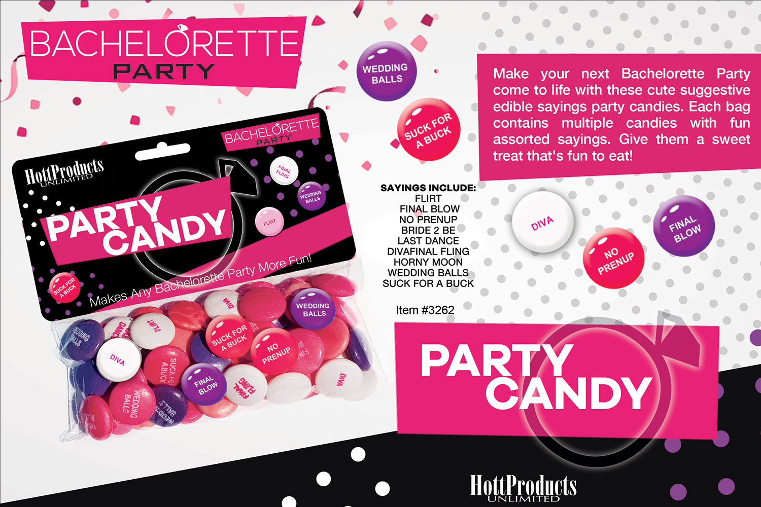 BACHELORETTE PARTY CANDY ASSTD SAYINGS IN BAG W HEADER - HO3262