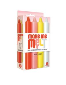 The 9'S Make Me Melt Sensual Warm-Drip Candles 4Pk Pastel