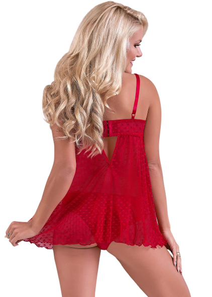 VALENTINA FLY-AWAY BABYDOLL & CHEEKY PANTY SET RED 2X - MSM129RED2X