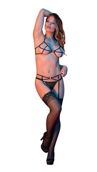 SEXY TIME STRAPPY BRA GARTER & G-SET W/ RINGS BLACK L/XL