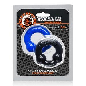 Ultra Balls Cockring 2 Pack Black/Police Blue (Net)