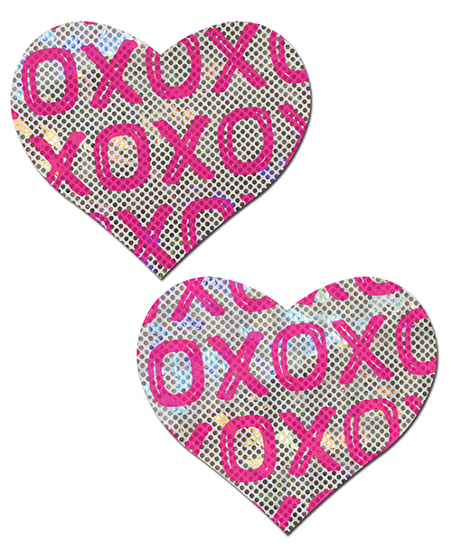 PASTEASE SHATTERED GLASS DISCO BALL PINK W/ WHITE XO HEART