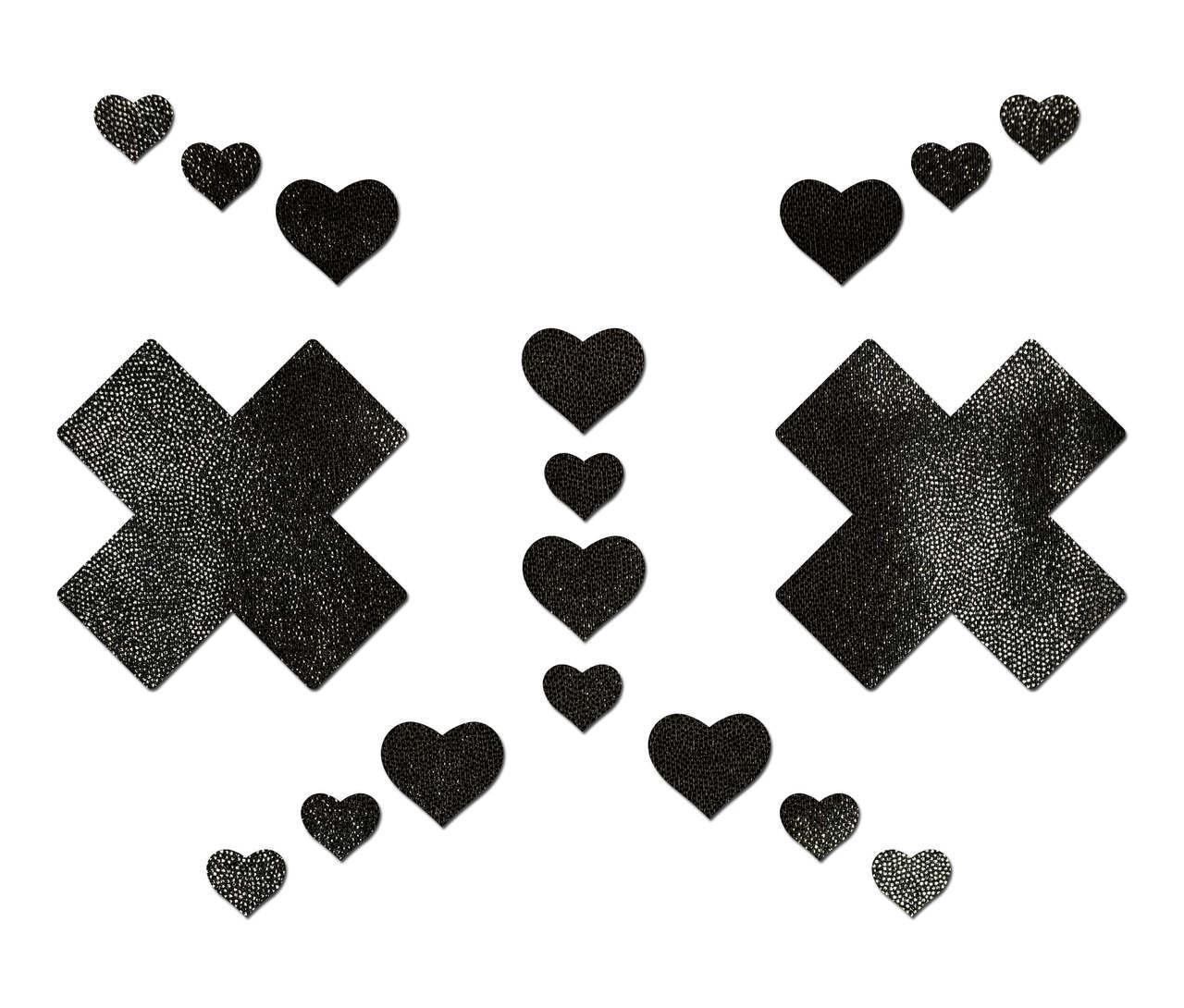 LIQUID BLACK PLUS X CROSS W/ 6 MINI HEARTS & 10 BABY HEARTS