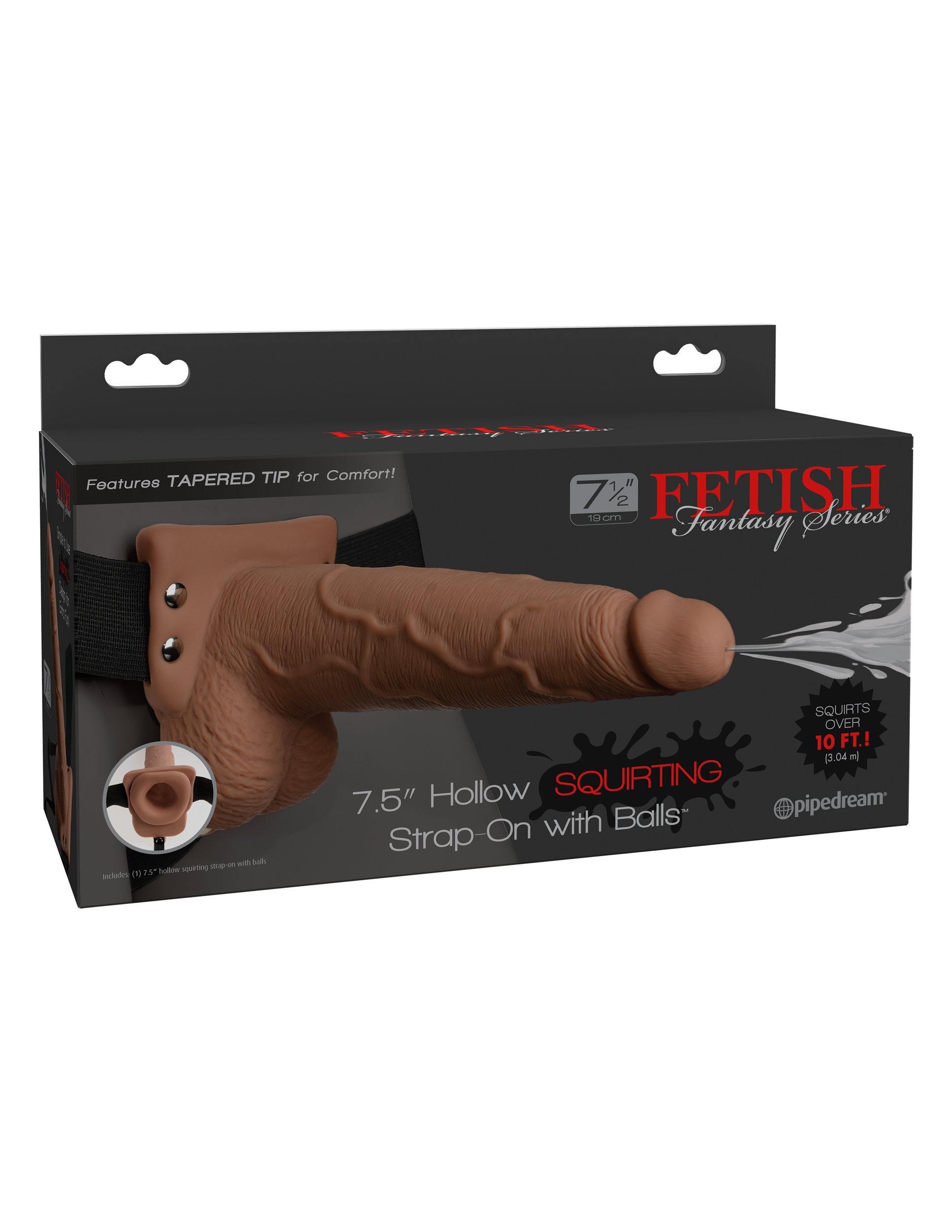 FETISH FANTASY 7.5 IN HOLLOW SQUIRTING STRAP-ON W/ BALLS TAN