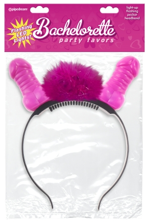 BACHELORETTE PARTY FAVORS FLASHING LIGHT UP PECKER HEADBAND