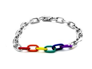 Rainbow & Silver Links Bracelet