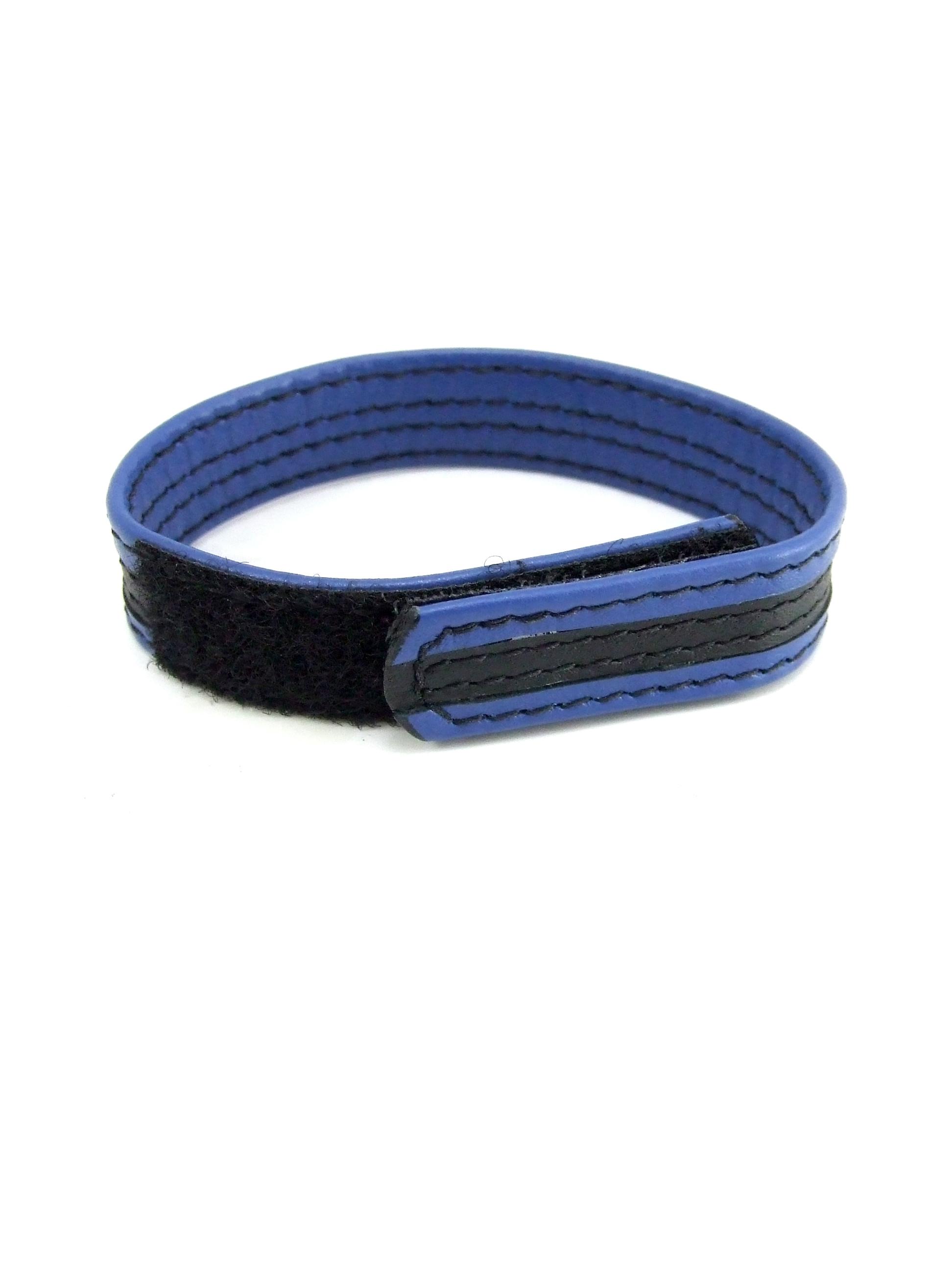 LEATHER VELCRO C RING BLACK/BLUE