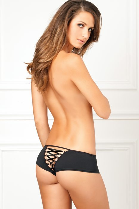CROTCHLESS LACE BACK PANTY BLACK M/L