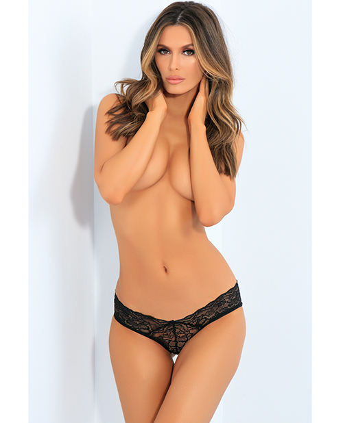 ALL TIED UP OPEN BACK PANTY BLACK M/L