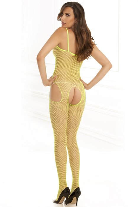 INDUSTRIAL NET SUSPENDER BODYSTOCKING LIME O/S