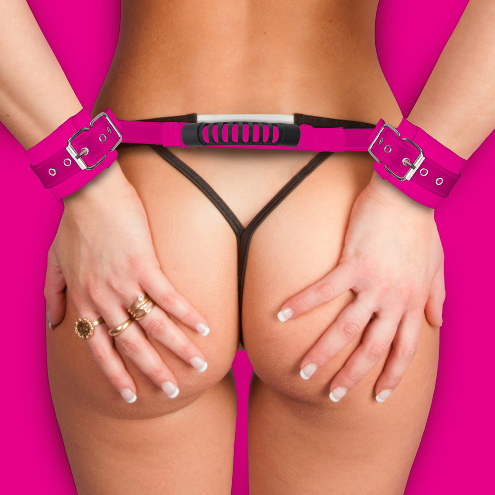 ADJUSTABLE LEATHER HANDCUFFS PINK - SHTOU139PNK