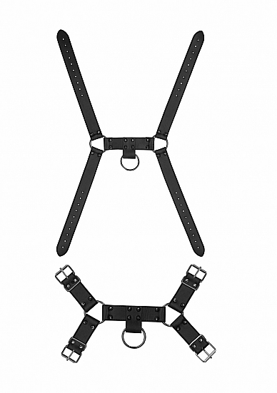OUCH! SKULLS & BONES MALE HARNESS W/ SPIKES BLACK