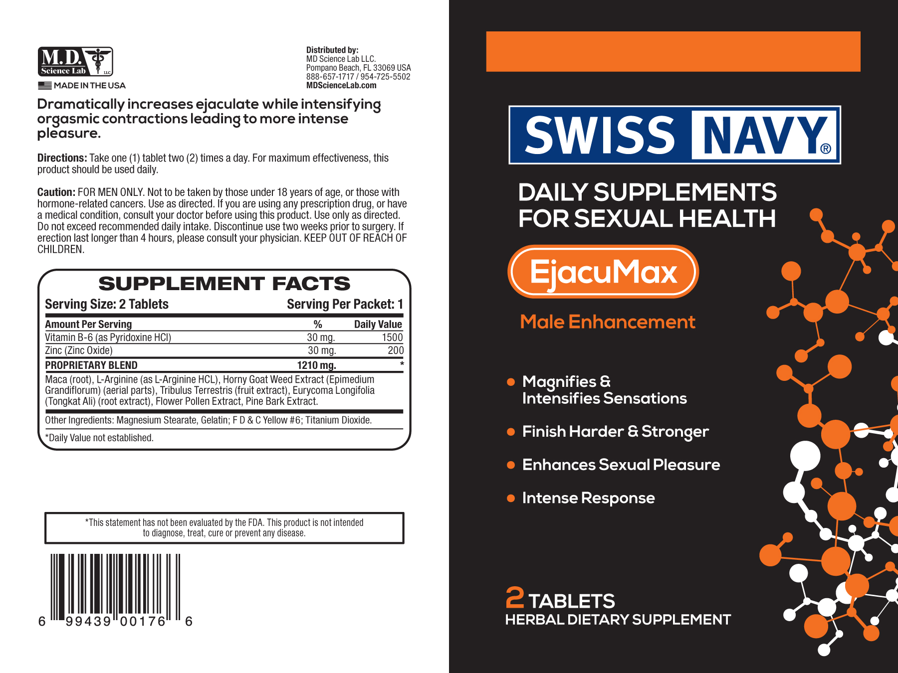 SWISS NAVY EJACU MAX FOR HIM 2CT